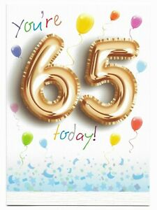 Happy 65th Birthday Greetings Card Balloon Design Age 65 Glossy For Him/Her