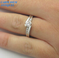 LUXURY IKS NATURAL 35PT DIAMOND SOLID 9CT WHITE GOLD ENGAGEMENT RING UK H 1/2