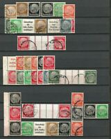 Germany (Third Reich) 1934/9 Used Hindenburg Se-Tenant Collections from Booklets