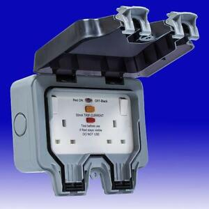 Masterplug 13A 2 Gang Storm Weatherproof Outdoor RCD Switched Latched IP66 Rated