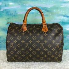 $1020 LOUIS VUITTON Speedy 30 Brown Monogram Canvas Satchel Bag Leather SALE!