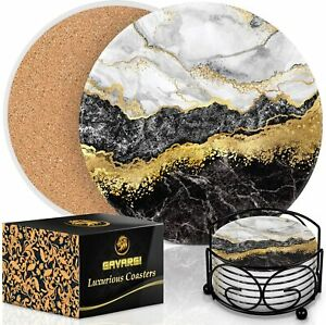 Coasters for Drinks Absorbent With Holder - Marble Style Absorbent Coasters - St