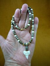 """S24-102) 1"""" Oceanic White Tip SHARK Tooth brown aceh bovine bone beaded necklace"""