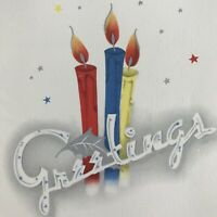 Vintage Mid Century Christmas Greeting Card Red Blue Yellow Candles Silver Flame