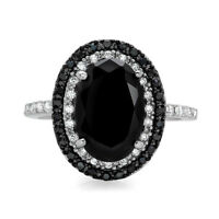 925 Silver Jewelry Oval Cut Black Sapphire Women Fashion Wedding Ring Size 6-10