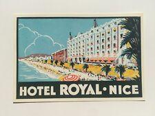Vintage Hotel Luggage Label -- Hotel Royal Nice France
