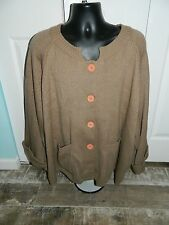 Vicki Wayne's Thick Tan Button Front Sweater Size 5X, 100% Acrylic