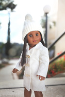Corduroy Girl Coat + Knit HAT Outfit Clothe for 18 inch American Doll