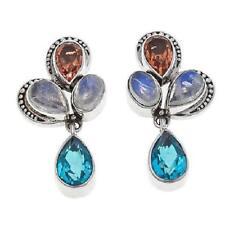 Nicky Butler Sunset Quartz Triplet & Multigemstone SS Pear Cluster Drop Earrings
