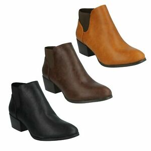 F5R0230 LADIES SPOT ON SMART MID BLOCK HEEL PULL ON CASUAL WINTER ANKLE BOOTS