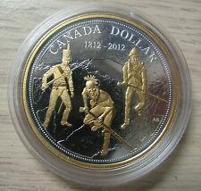2012 Proof $1 200th Anniversary War of 1812 .9999 Silver Dollar w/ Gold Canada