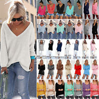Womens Long Sleeve Casual Loose Jumper Tops Knitwear Pullover Sweater Sweatshirt