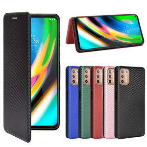 For Motorola Moto G9 Play / G9 PLUS Magnetic Carbon Fiber Wallet Leather case