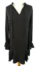 Mango S 10 12 Black White Polka Dot Dress Flared Sleeve Tie Neck Long Sleeve