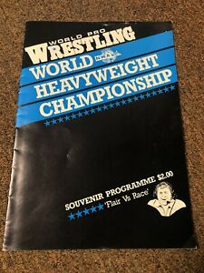 Vintage NWA Wrestling Program Flair Vs Race World Championship Title Change NZ