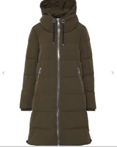Ladies DKNY Army Green Quilted Padded Hooded Full Length Coat Medium UK12 HA2