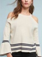 Anthropologie Knitted and Knotted Sweater Medium Cream Off White Cold Shoulder