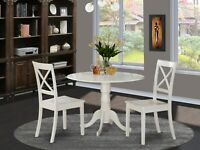 """3pc dinette set, round 36"""" pedestal kitchen table + 2 wood chairs in linen white"""