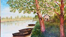 Dipinto antico paesaggio di primavera pannello di tela dipinto a mano olio
