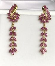 14k Solid Yellow Gold Cluster  Dangle French Clip Earrings,Natural Ruby 5.5 TCW