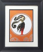 "Erte ""Flames of Love"" Newly CUSTOM FRAMED Print Art Deco Design Classic Decor"