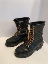 VTG Red Wing Black Leather Steel Toe Boots Men's 9 ? ANSI Z41 PT99 MI/75 C/75 EH