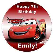 """Cars Lightning Mcqueen Disney  Personalised Cake Topper 7.5"""" Edible Wafer Paper"""