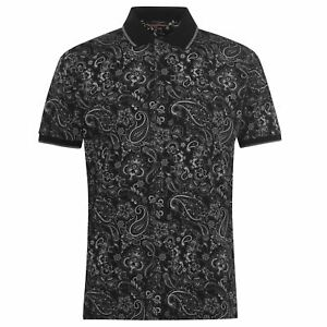 Pierre Cardin Men Paisley Polo Shirt Short Sleeve 100% Cotton Tee Top T-Shirt