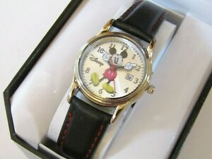 """DISNEY MICKEY MOUSE WOMEN""""S WATCH WITH GENUINE LEATHER BAND AND DATE MK1003"""