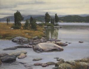 Jerry Inman Stepping Stones Original Landscape Lake Oil Painting 16x20