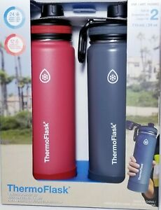 2x Thermoflask Stainless Steel 24 oz Water Bottle ( Red/Grey) FREE SHIPPING