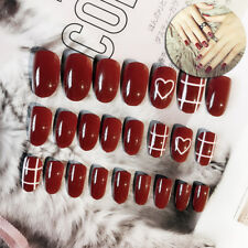 24xacrylic designer fake nail tips french full false nails art fingernail diy XC