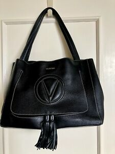 VALENTINO OLLIE LARGE BLACK LEATHER TOTE by Mario Valentino
