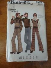 "Vtg 70s Butterick Sewing Pattern-Men#6791-Kenzo J.A.P.pant,vest,sweater 38""chest"