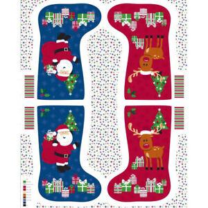 Nutex Christmas Stocking 100% Cotton Fabric Stocking Panel Santa And Reindeer