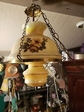 Vintage Awesome Hanging Glass Hurricane Hand Painted Light