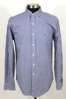 mens blue white check RALPH LAUREN classic fit casual dress shirt cotton pony L