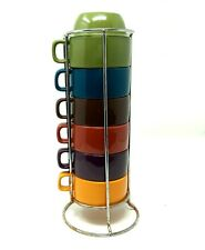 Stacking Mugs Set of 6 World Market Solid Colorful with Metal Rack 8 oz Coffee