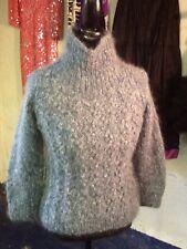 Handmade Blue Mohair and Wool IRISH Turtleneck  S