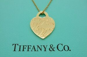 """Tiffany & Co. I Love You Notes Heart 18k Yellow Gold Small Pendant 16"""" Necklace"""