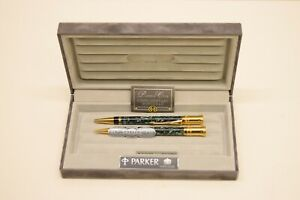 Parker Duofold Pearl & Black Ball Pen & Pencil Set w/Case