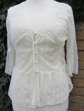 Lemiore Ladies Vintage White Lace Style Shirt Size Medium