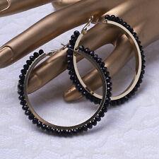 """Glamorous Black Crystal 2"""" Diameter Pierced Hoop Gold Tone Earrings"""