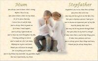 MUM & STEPFATHER  GIFT- personalised (Laminated poem)
