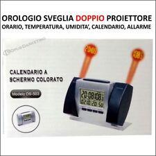 OROLOGIO SVEGLIA DIGITALE LUCE LED DOPPIO PROIETTORE PROIEZIONE PARETE SOFFITTO