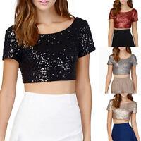 Tee Shirt Fashion Womens Top Tops Party T-Shirt Short Sleeve Sequins Crop Blouse