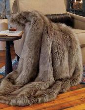 NEW Eskimo Brown Faux Fur & Fleece THROW 50x60 BLANKET Bedford Cottage Kennebunk