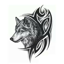 1 Sheet Wolf Head Temporary Tattoo Sticker Men Arm Boby Removable Fake Tatoo Hot