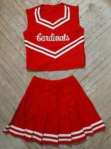 Real Vintage High School Cheer White Red Silver Cardinals Cheerleading Uniform