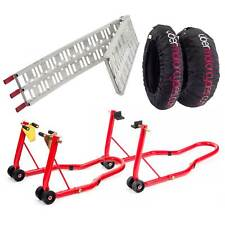 Warrior Bicicleta/Motocicleta Paddock Soportes/Calentador de Neumáticos/Plegable Kit de rampa de carga